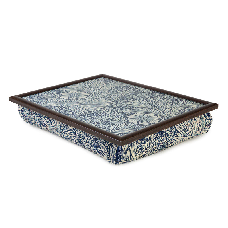 William Morris Marigold Indigo Lap Tray with Dark Wood Frame over white background