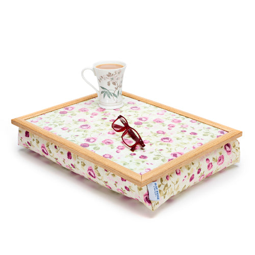 Bean Bag Lap Tray in Mulberry Rose on a white background with a full mug and a pair of glasses on top