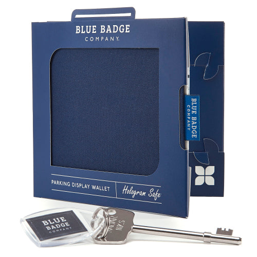 Disabled Blue Badge Wallet in Navy Drill packed in blue badge company recyclable packaging and RADAR Disabled Toilet Key