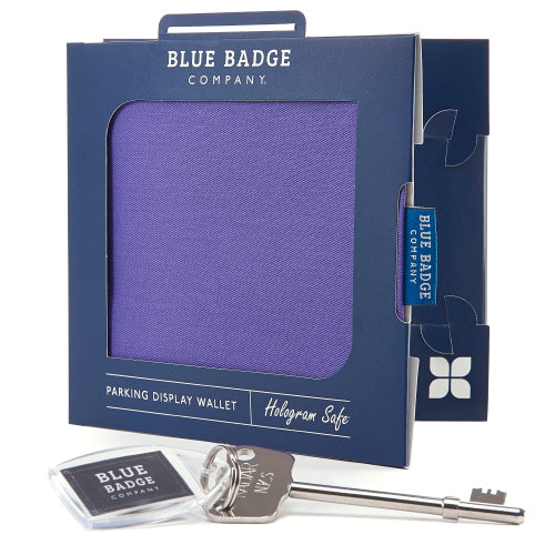 Disabled Blue Badge Wallet in Purple Drill packed in blue badge company recyclable packaging and RADAR Disabled Toilet Key
