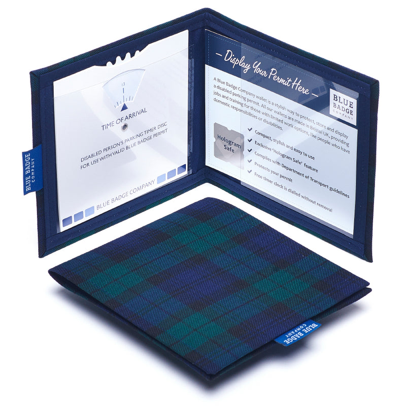 Blackwatch Tartan Blue Badge Wallet displayed over white with Parking Timer Clock and Blue Badge PErmit inside