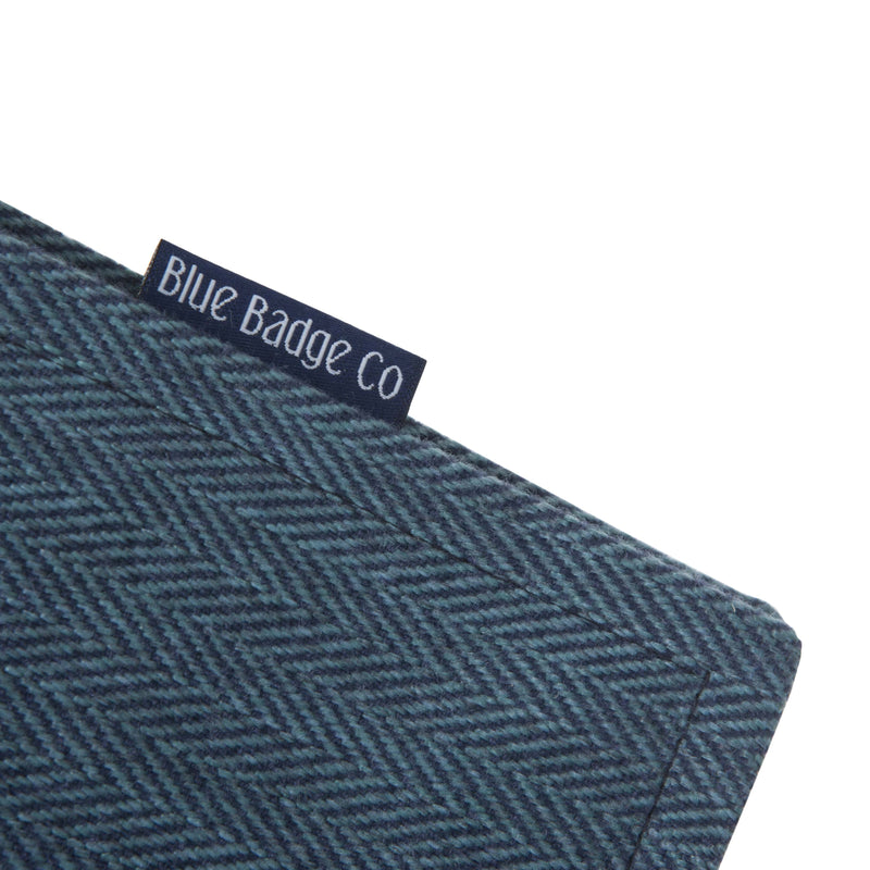 Disabled Blue Badge Wallet in Herringbone detail of fabric and blue badge company label