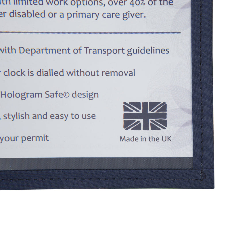 Disabled Blue Badge Wallet in Busy Bees with detail of made in the uk icon and hologram safe design