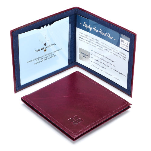 Leather Disabled Blue Badge Wallet in Burgundy with blue badge company logo embossed on top displayed open with parking clock and permit with hologram safe design visible