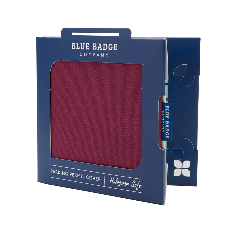 Disabled Blue Badge Wallet in Burgundy Panama packed in blue badge company recyclable packaging