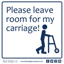 Disabled Car Sticker Square - Please leave room for my carriage