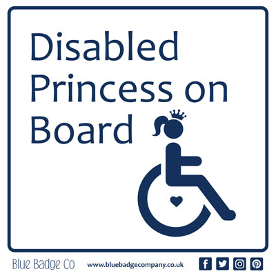 Disabled Car Sticker Square - Disabled Princess on Board!