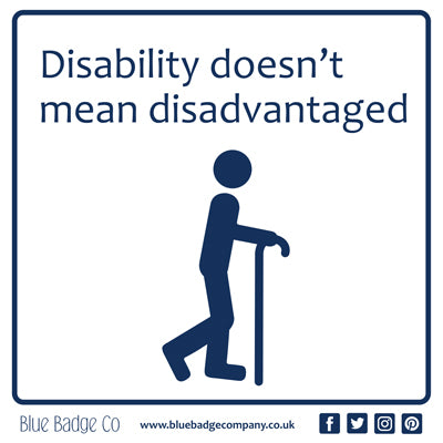 Disabled Car Sticker Square - Disability doesn't mean disadvantaged