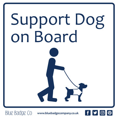 Disabled Car Sticker Square - Support Dog on Board! by Blue Badge Company