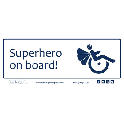 Disabled Car Sticker Rectangle - Superhero on board by Blue Badge Company
