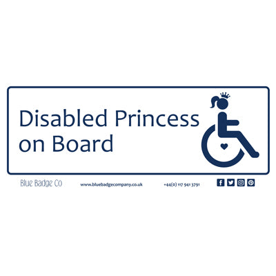 Disabled Car Sticker Rectangle - Disabled Princess on Board by Blue Badge Company