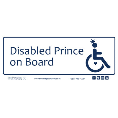 Disabled Car Sticker Rectangle  - Disabled Prince on Board by Blue Badge Company