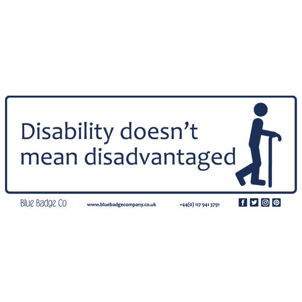 Disabled Car Sticker Rectangle  - Disability doesn't mean disadvantaged