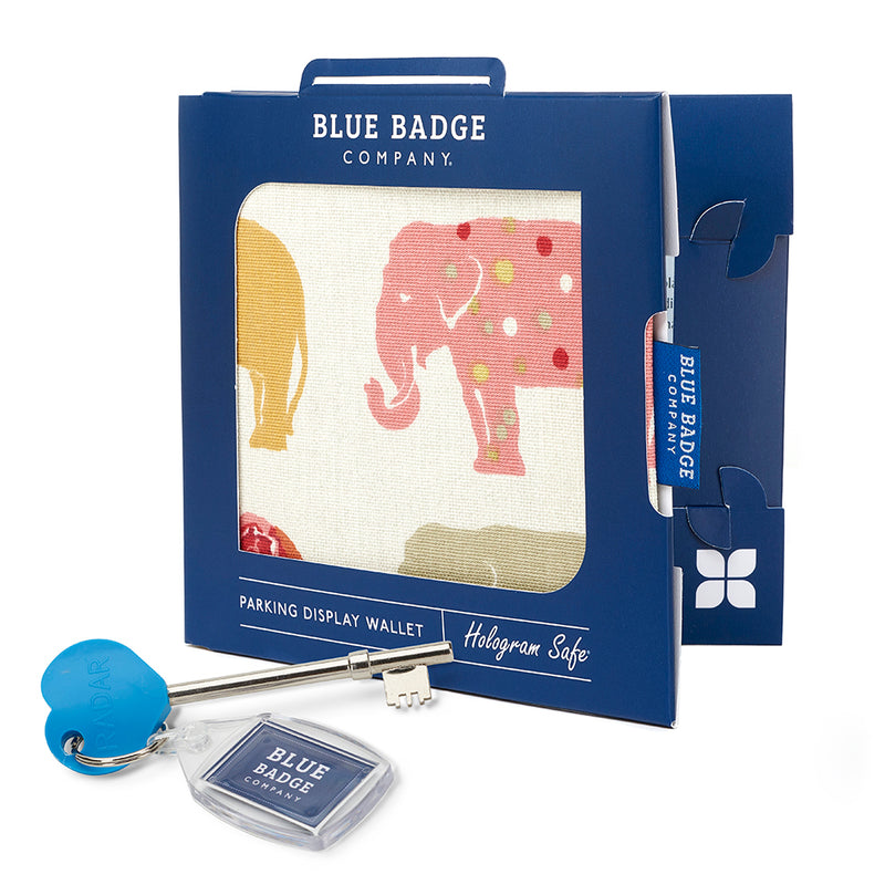 Nelly Elephant Blue Badge Wallet packed in blue badge company recyclable packaging and RADAR Disabled Toilet Key with blue badge company keyring