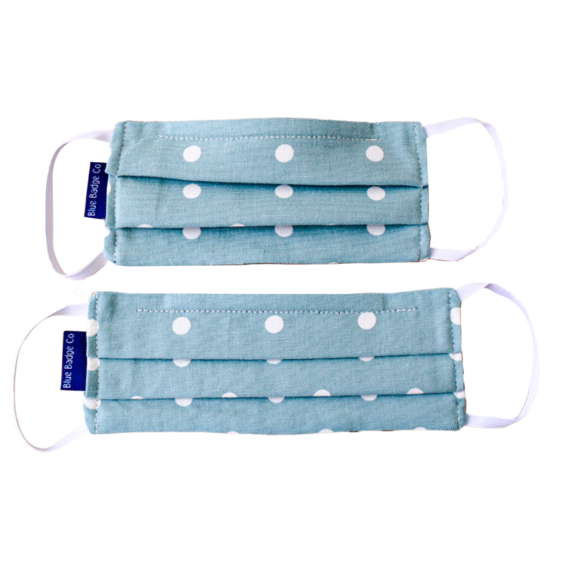 Pack of 5 Cotton Face Masks in Aqua Marine Spotty, With Pouch for Additional Filter
