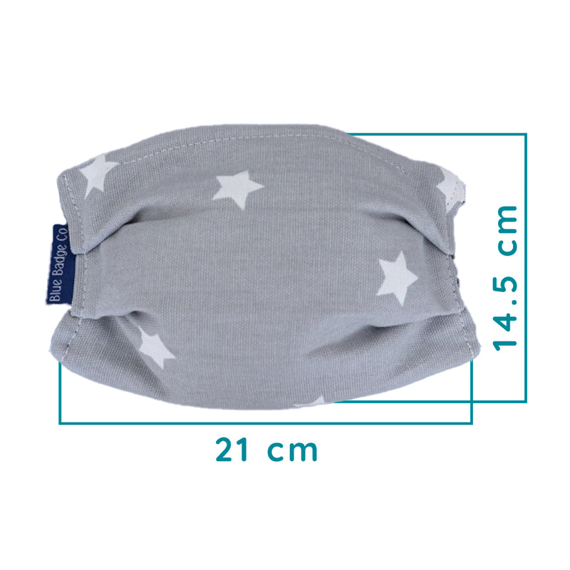 Pack of 5 Cotton Face Masks in Grey Stars, With Pouch for Additional Filter