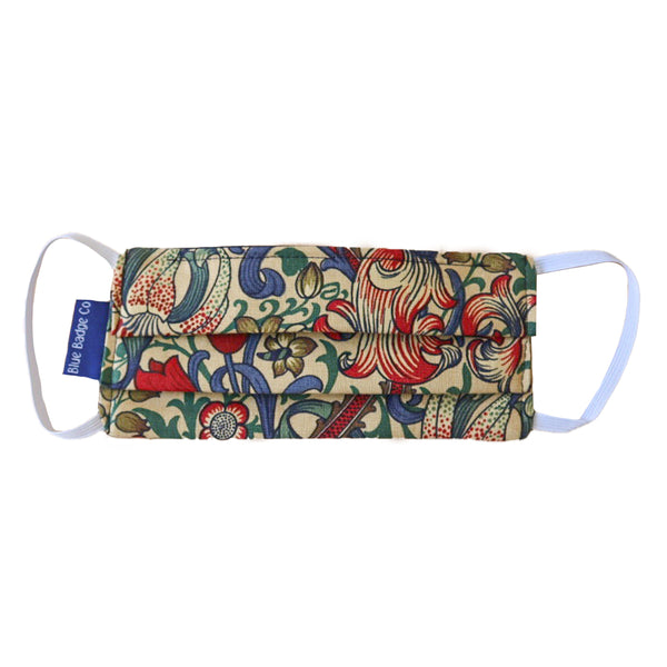 Double Ply Cotton Face Mask in William Morris Golden Lily, With Pouch for Additional Filter - Single Unit.