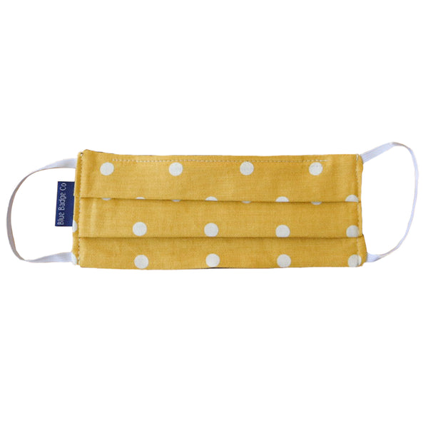 Pack of 5 Cotton Face Masks in Canary Yellow Spotty, With Pouch for Additional Filter