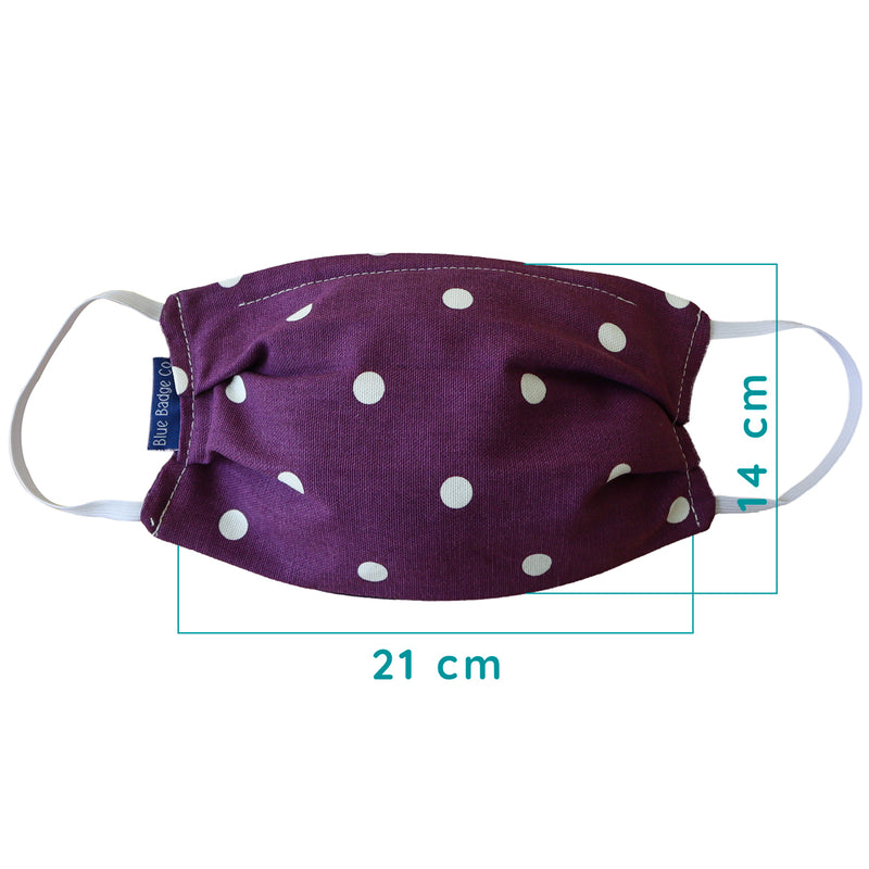 Double Ply Cotton Face Mask in Spotty Purple, With Pouch for Additional Filter - Single Unit.