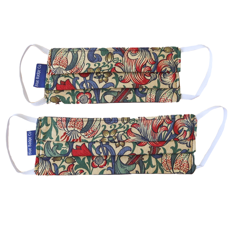 Pack of 5 Cotton Face Masks in William Morris Golden Lily, With Pouch for Additional Filter