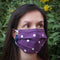 Single Double Ply Cotton Face Mask in Spotty Purple, With Pouch for Additional Filter