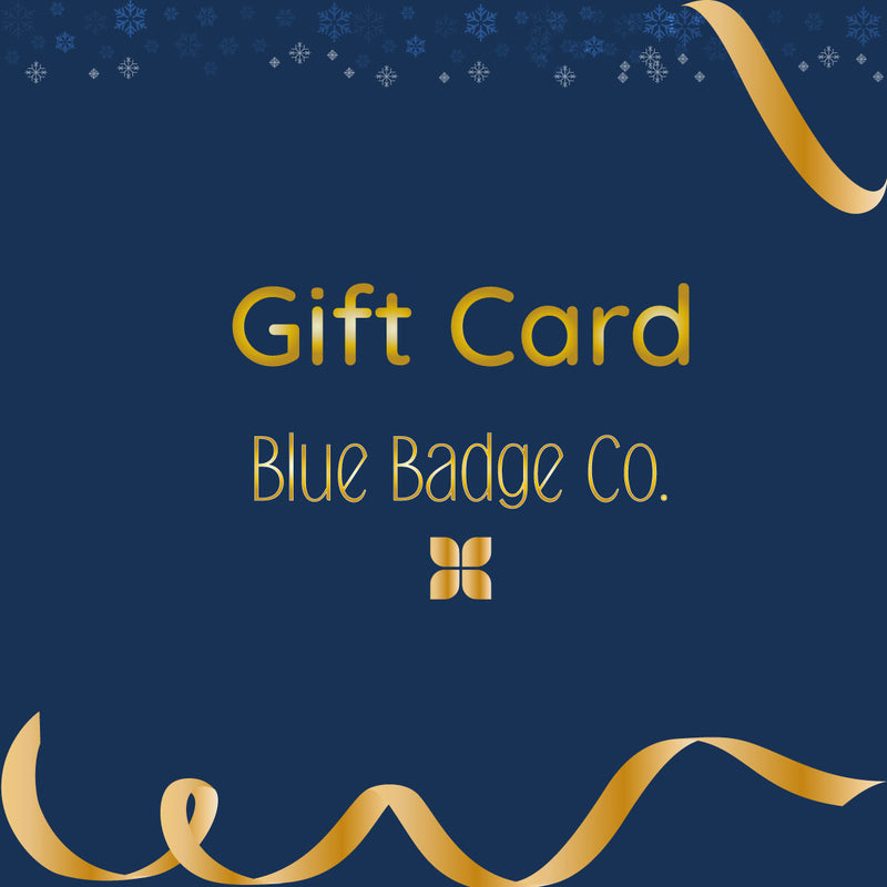 Electonic Gift Card of choice for the people you love, navy background and gold text
