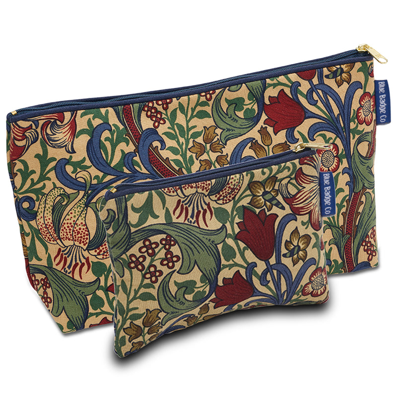 Wash Bag & Make-up Purse Gift Set in William Morris Golden Lily with blue badge company label showing