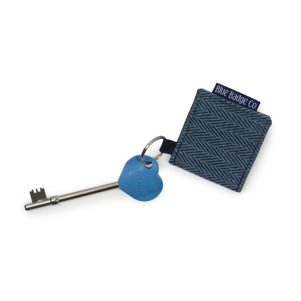 Genuine RADAR Disabled Toilet Key & Fabric Keyring in Herringbone with blue badge company label visible