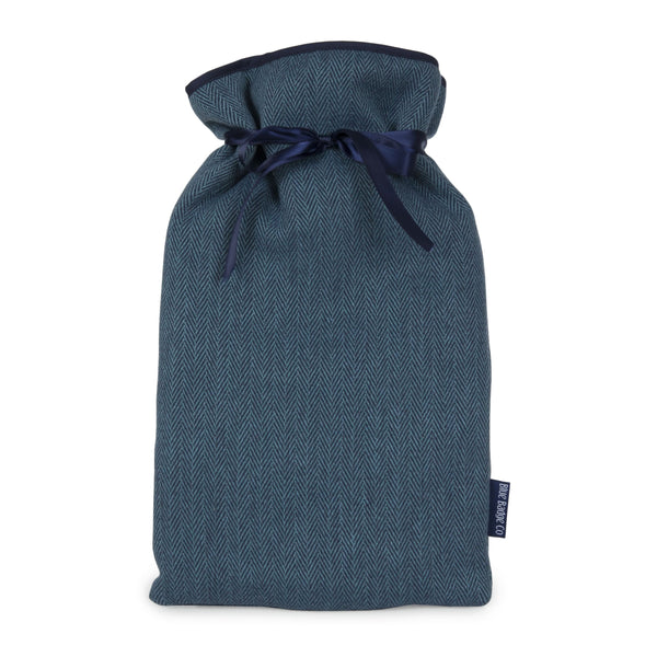 Large Hot Water Bottle With Soft Cover in Herringbone with satin ribbon