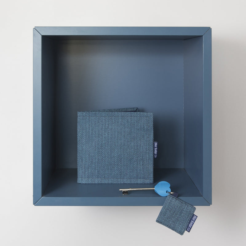Disabled Blue Badge Wallet in Herringbone with Key Ring and RADAR Disabled Toilet Key on shelf at home