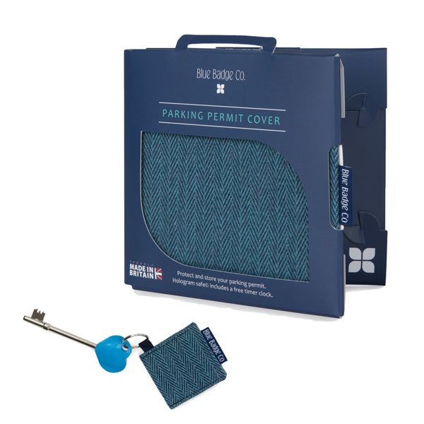 Disabled Blue Badge Wallet in Herringbone with Key Ring and RADAR Disabled Toilet Key against white background
