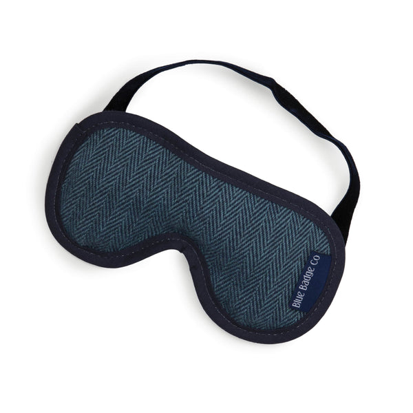 Lavender Eye Mask in Herringbone with blue badge company label showing against a white background
