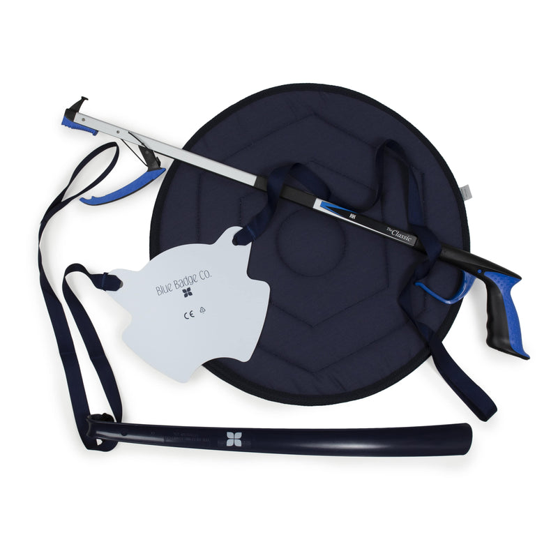 Hip Recovery Bundle: Sock Aid, Shoe Horn, Reacher and Swivel Cushion