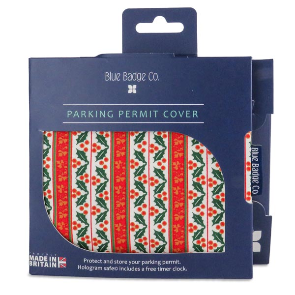 Disabled Blue Badge Wallet in Holly & Ivy packed in blue badge company recyclable packaging