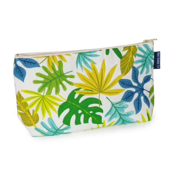 Toiletry Bag, Wash Bag in Jungle with white zip and blue badge company label showing against a white background