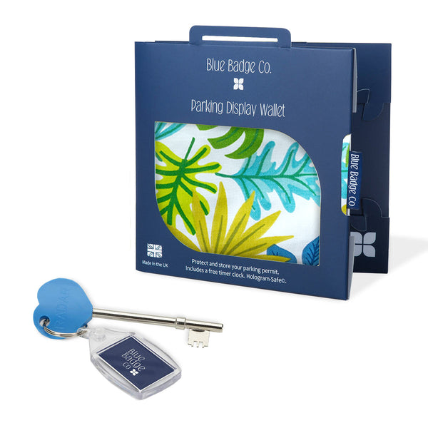 Disabled Blue Badge Wallet in Jungle packed in blue badge company recyclable packaging with RADAR Disabled Toilet Key and blue badge company key ring