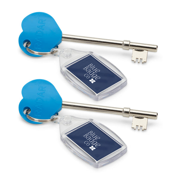 Twin Pack of Genuine RADAR Disabled Toilet Key with Keyring