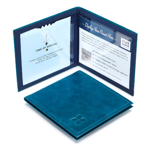 Leather Disabled Blue Badge Wallet in Lake Green with blue badge company logo embossed on top displayed open with parking permit and clock visible and hologram safe design