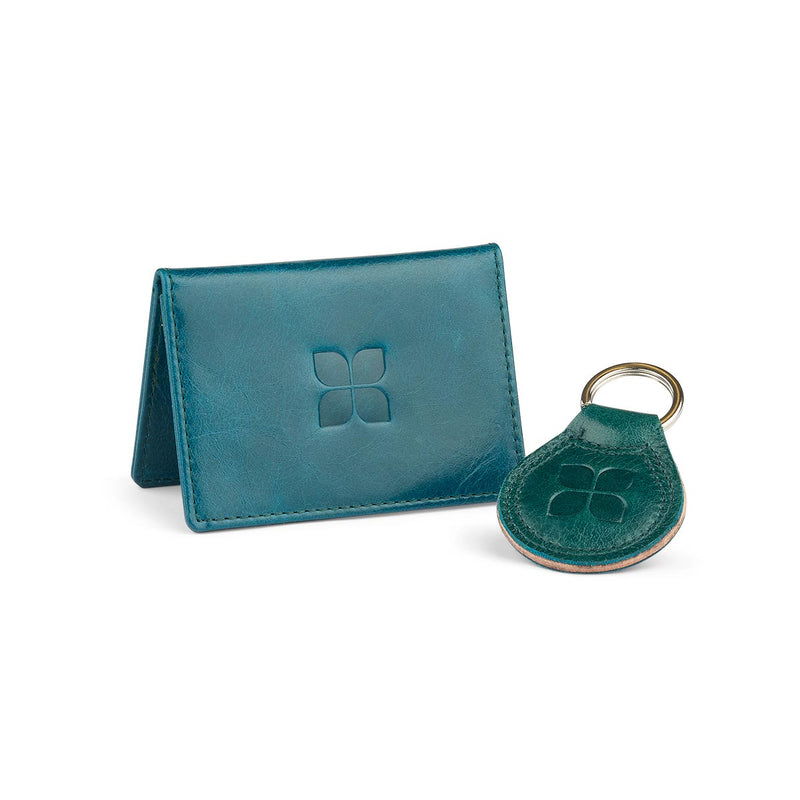 Leather Cardholder and Key Ring Gift Set in Lake Green with blue badge company logo embossed on both items
