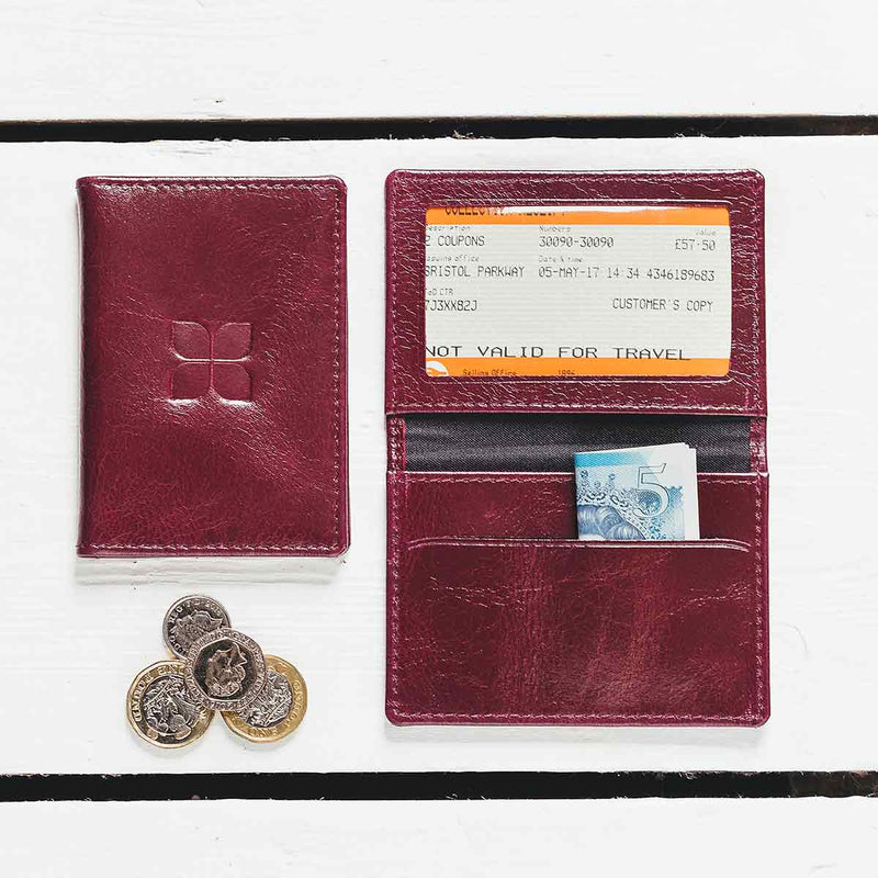 Cordovan Creek Leather Card Holder in Burgundy