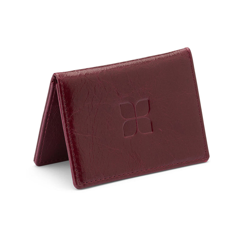 Cordovan Creek Leather Cardholder in Red with blue badge company logo embossed on top
