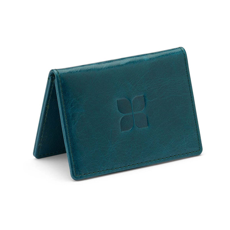 Vim Green Leather Cardholder in Green with blue badge company logo embossed on top