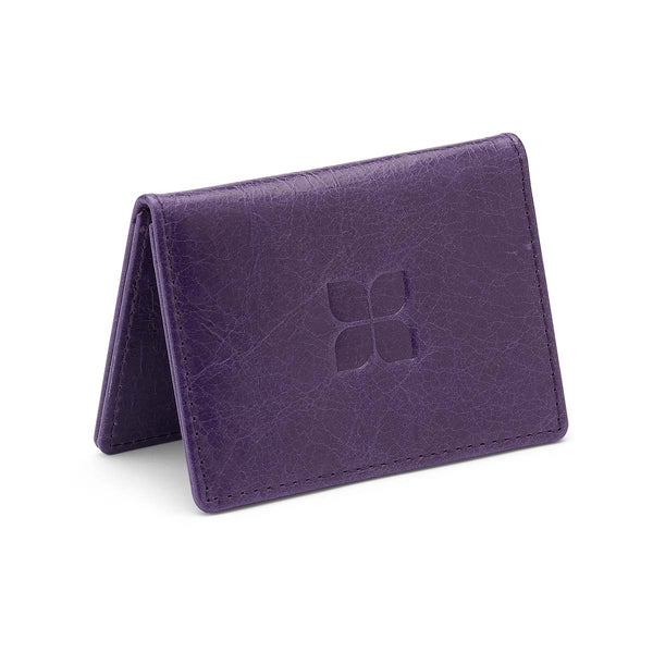 Royal Pep Leather Cardholder in Purple with blue badge company logo embossed on top