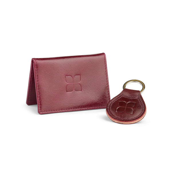 Leather Cardholder and Key Ring Gift Set in Burgundy