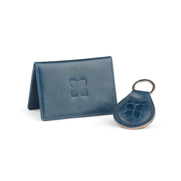 Leather Cardholder and Key Ring Gift Set in Navy with blue badge company logo embossed on top of both items