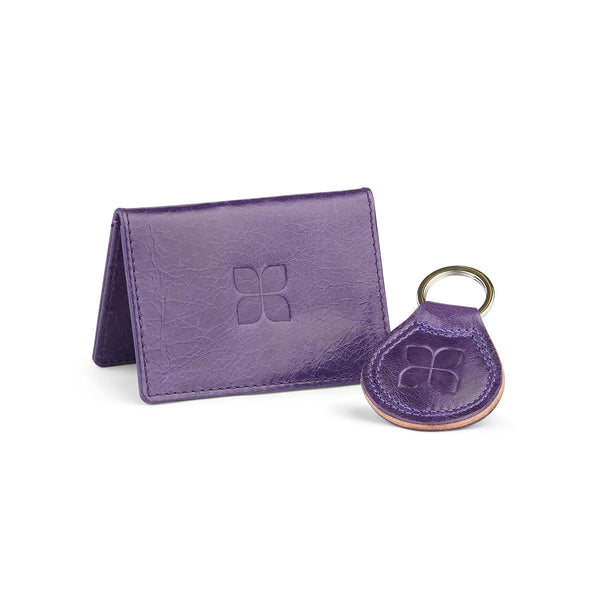 Leather Cardholder and Key Ring Gift Set in Purple with blue badge company logo embossed on both items