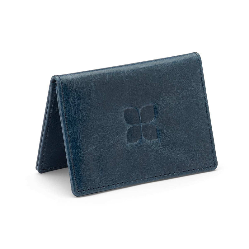 Air Force One Leather Card Holder in Navy with blue badge company logo embossed on top