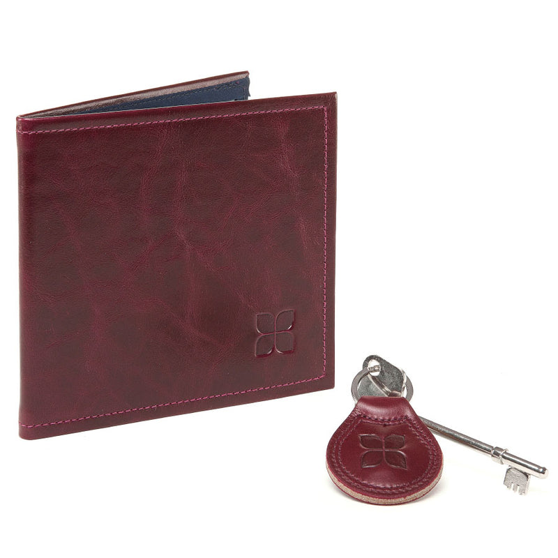 Leather Blue Badge Wallet, Keyring and RADAR Disabled Toilet Key in Burgundy with blue badge company logo embossed on both items against a white background