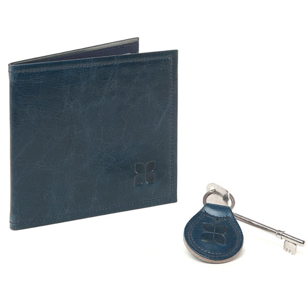 Leather Blue Badge Wallet, Keyring and RADAR Disabled Toilet Key in Navy with blue badge company logo embossed on both items