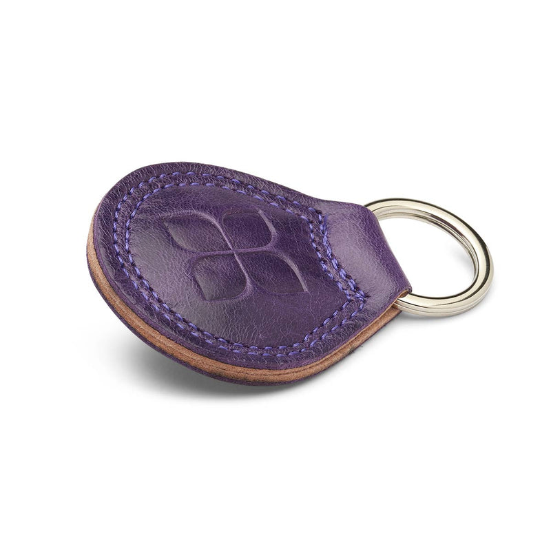 Italian Leather Key Ring in Purple with Blue Badge Company logo embossed on the front